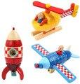 Магнитные Вертолеты Rocket Мальчики Деревянные Игрушки Высокого Качества Строительные Блоки Коробка Подарка для Мальчик Деревянные Магнитные Монтажные Игрушки Хобби
