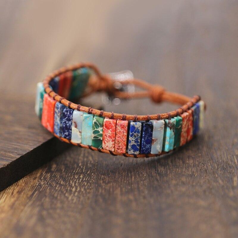 Handmade Chakra Bracelet Jewelry Multi Color Natural Stone Tube Beads Leather Wrap Bracelet Couples Bracelets drop shipping bracelet
