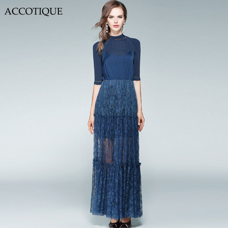 High Quality New Autumn Womens Fashion Solid Slim Blue Knitted Sweater Lace Floor Length Dress 2Pieces