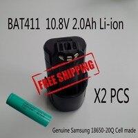 2PCS LOT Replacement Battery For Bosch 10 8V 2 0Ah Sansung 18650 20Q BAT 411 BAT