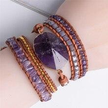 Exquisit Graduated Handmade – 5X Leather Wrap Beaded Bracelet  Boho Chic Jewelry  Bracelet Valentine's Gift