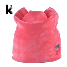 2018 Winter Beanie Hat Ladies Cat Girls Hats For Women Beanies Fluff Caps Russia Skullies Touca Cap With Ear Flaps(China)