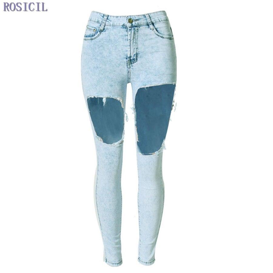 ROSICIL Jeans High Waist Jeans Stretch Denim Slim Nine Pants Ripped Jeans For Women Irregular Hole