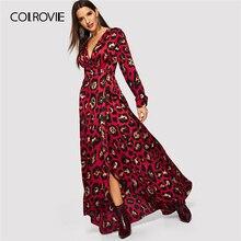 COLROVIE V צוואר הדפס מנומר גלימה לעטוף חג המולד שמלת נשים 2019 אביב ארוך שרוול המפלגה מקסי שמלת קוריאני אלגנטי שמלה
