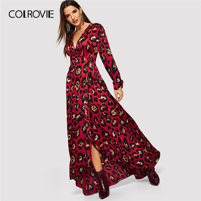 12a3725c3602 COLROVIE V Neck Leopard Print Surplice Wrap Christmas Dress Women 2019  Spring Long Sleeve Party Maxi