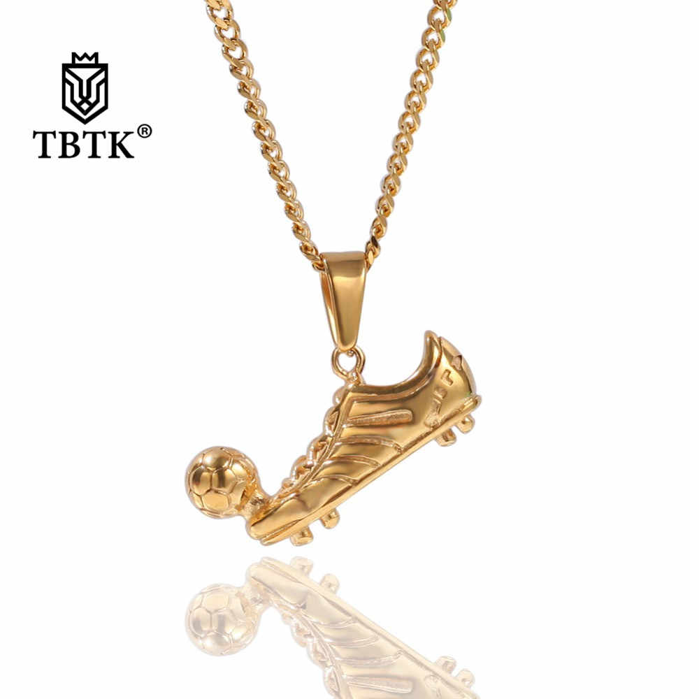 TBTK New Football Shoes With Soccer Ball Pendant Gold/Silver Shoes Pendant Necklace Personalized Simple Style Jewelry for Men