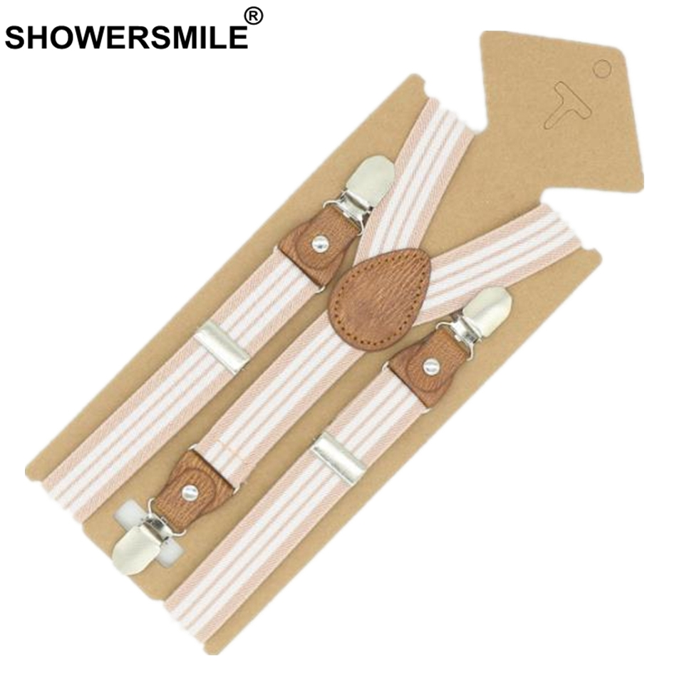 SHOWERSMILE Braces For Children Suspenders Strap Pink Stripe Leather Pants Strap Clips Tuxedo Suspensors For Boys Girls Tirantes
