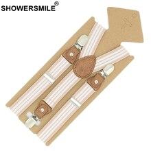 SHOWERSMILE Braces For Children Suspenders Strap Pink Stripe Leather Pants Clips Tuxedo Suspensors Boys Girls Tirantes