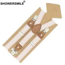 SHOWERSMILE Braces For Children Suspenders Strap Pink Stripe Leather Pants Strap Clips Tuxedo Suspensors For Boys Girls Tirantes