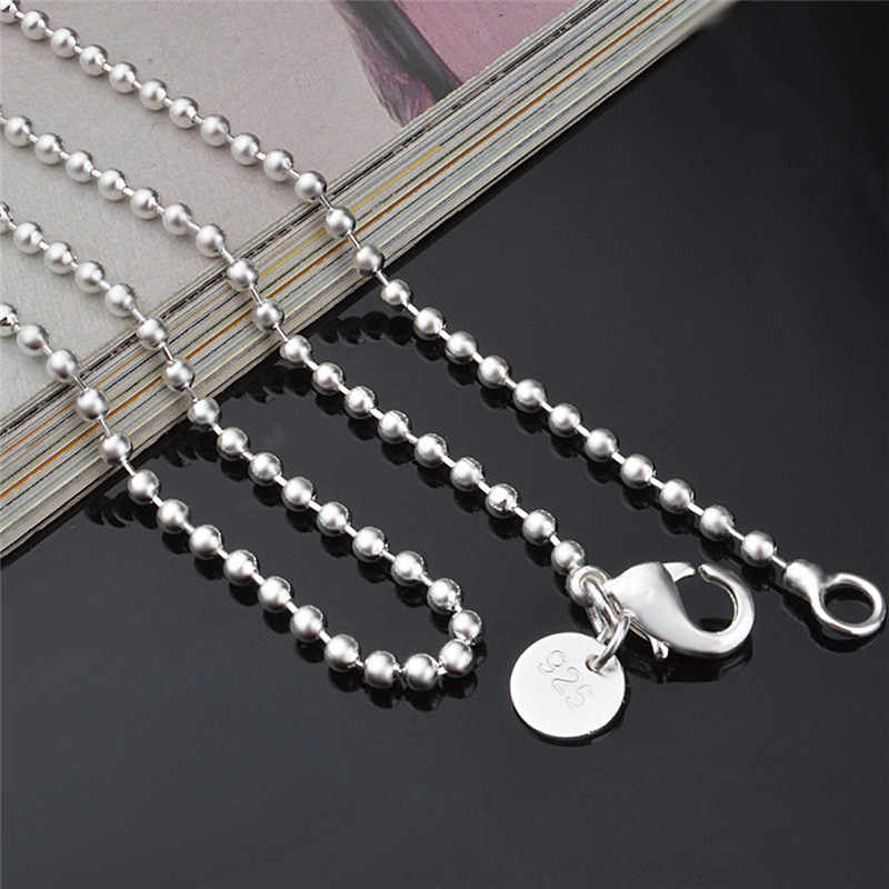 """Silver Plated 2.4MM Round Ball Beads Chain Necklace Connector Men Women Necklace 16""""-24"""" Wholesale"""