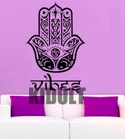 Hamsa Hand Fatima Mandala Pattern Wall Decal Vinyl Art Sticker Meditation Home Decor Mural Black White