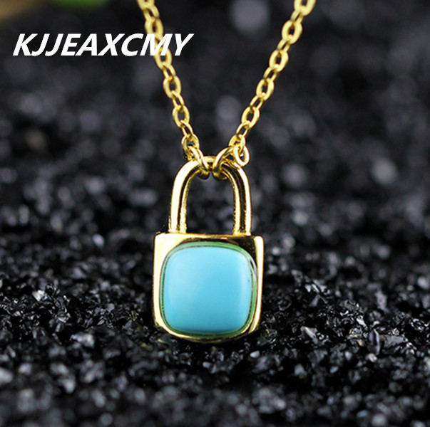 KJJEAXCMY S925 sterling silver jewelry, Ruili City lady, gold-plated, turquoise, small locks, necklace sets, chains