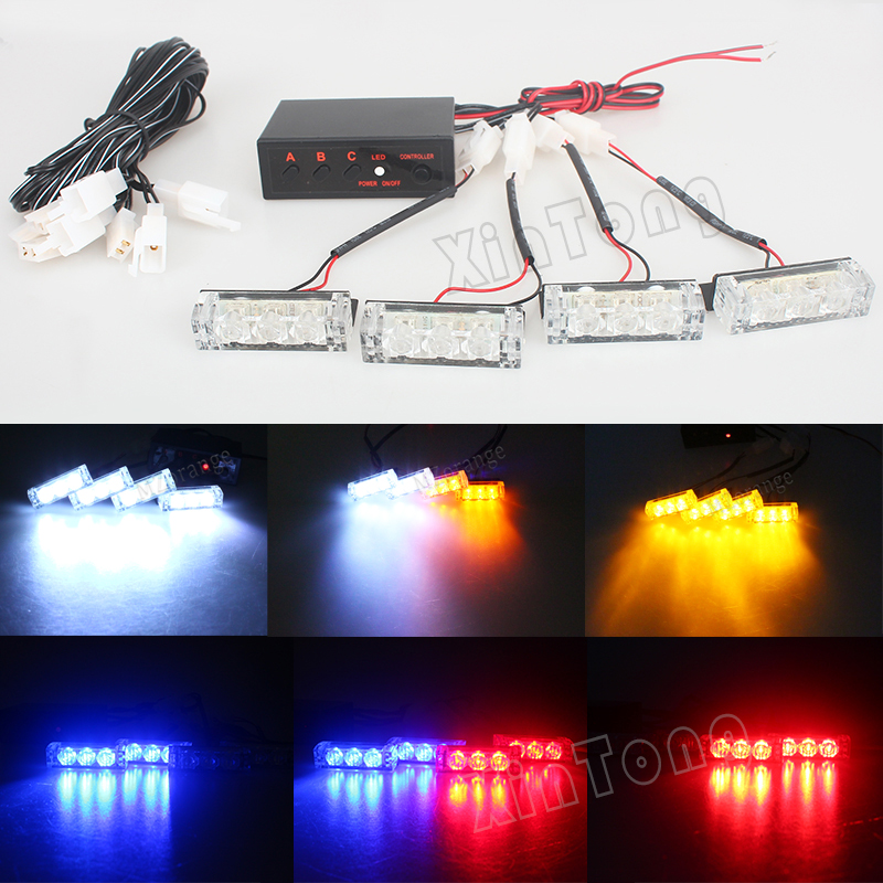 Blue/Red/Yellow White 12V Car Truck LED Strobe Flash Warning Emergency Front Bumper Grille Driving Light Bar Police Firefighter 4x 4 led car flash truck emergency beacon light bar hazard strobe warning amber white blue red