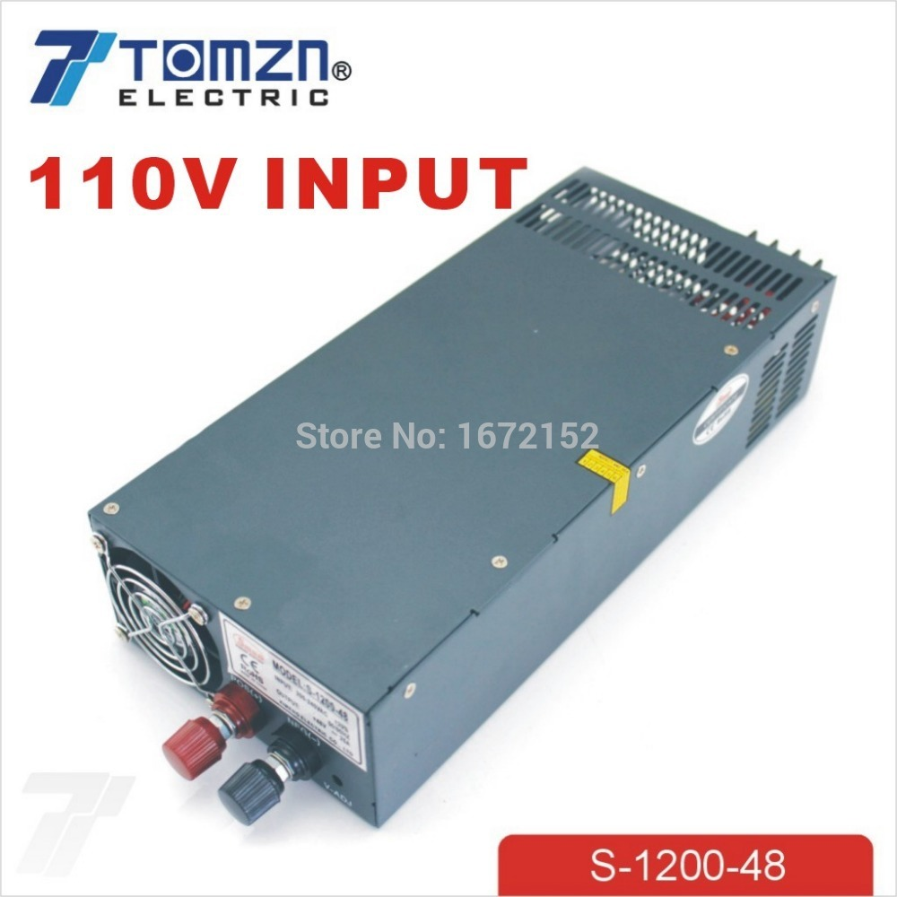 1200W 48V 25A adjustable 110V input Single Output Switching power supply for LED Strip light AC to DC allishop 300w 48v 6 25a single output ac 110v 220v to dc 48v switching power supply unit for led strip light free shipping