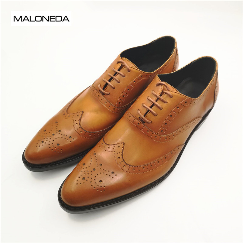MALONEDA Brand Good Quality Men's Shoes Leather Custom Pure Manul Genuine Leather Brogues Shoes With Goodyear Welted