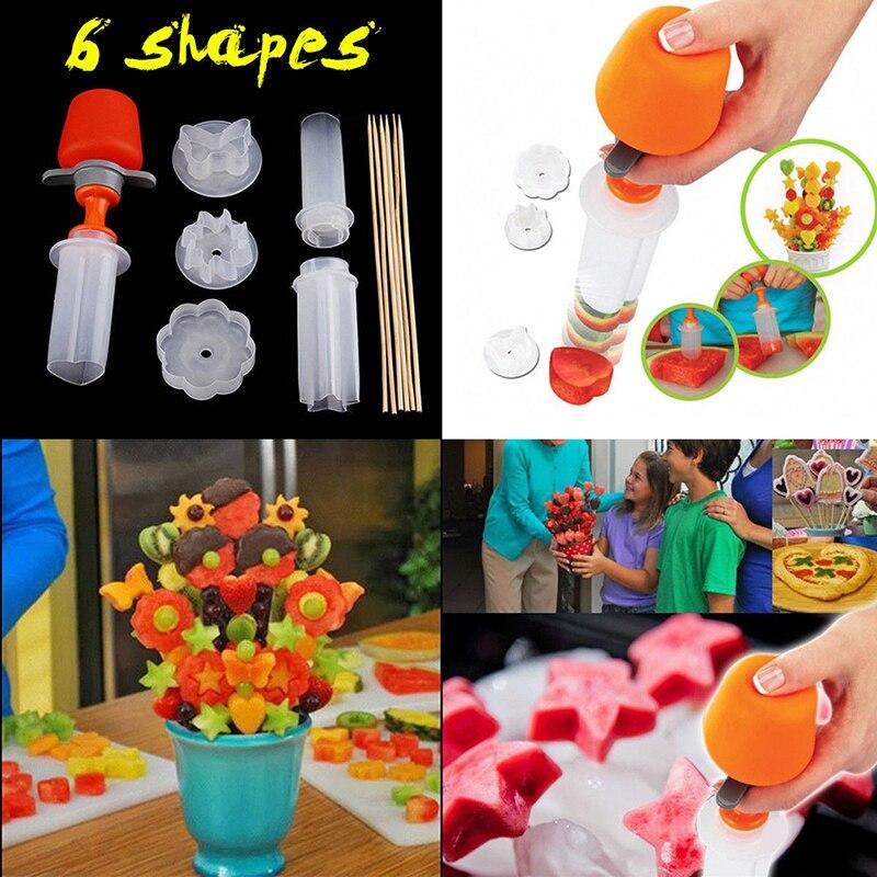 1 set Torta di Frutta di Taglio di Verdure FAI DA TE Push Pop Shaper Cutter Cucina Decor Strumenti di Cibo Decorator Gadget Da Cucina Accessori Strumenti