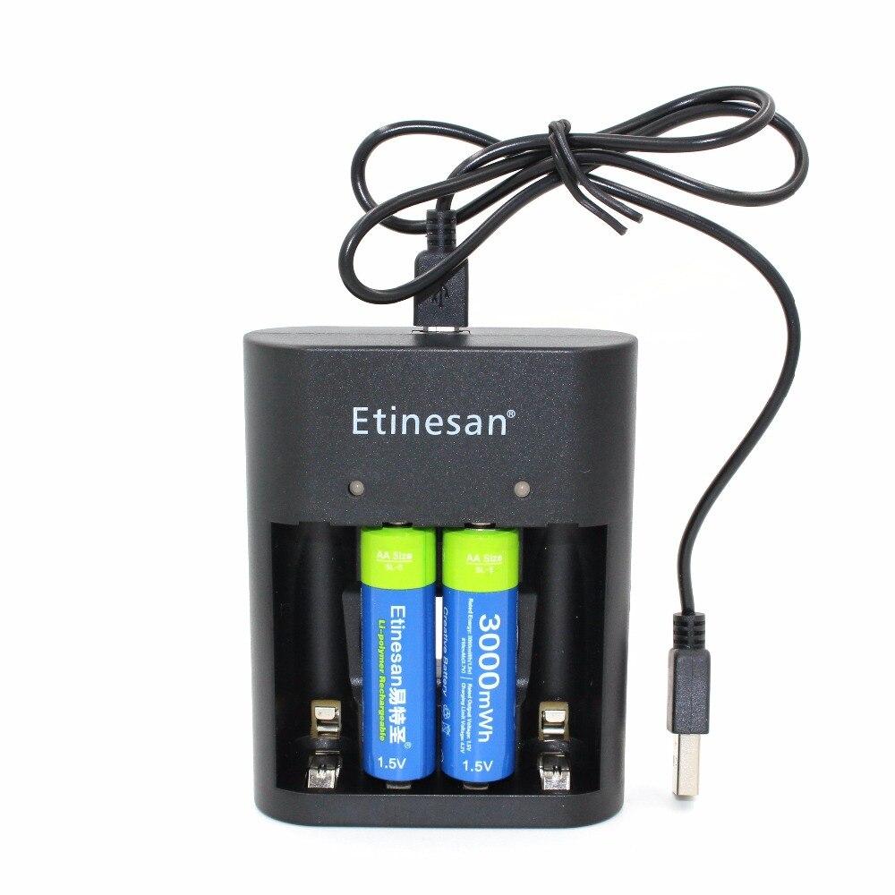 2 pcs 1.5 v Bateria De Lítio Etinesan 3000mwh Li-po bateria li-ion Baterias Recarregáveis AA + USB AA AAA carregador
