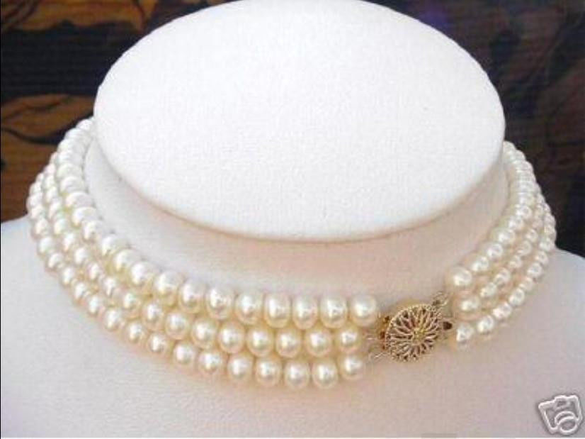 3 ROW natural Akoya white Pearl Necklace 17-19 14k/20/203 ROW natural Akoya white Pearl Necklace 17-19 14k/20/20