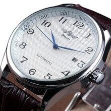 Winnaar Famous Brand Mannen Business Automatische Horloges Auto Datum Man Mode Mechanische Horloges Lederen/Roestvrij Stalen Band