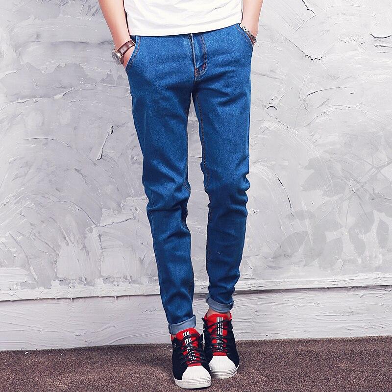 Aliexpress.com : Buy Classic Blue Black Mens Jeans Slim Fit Denim ...