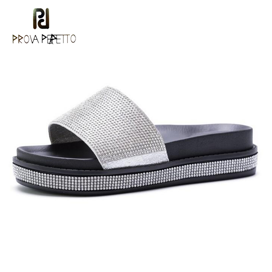 Prova Perfetto black silver crystal thick bottom muffin shoe women slipper glitter rhineston flip flop lady open toe beach slide 2014 free shipping open toe hand sewing crystal chiffon flower pu insole comfortable pure white wedding flip flop