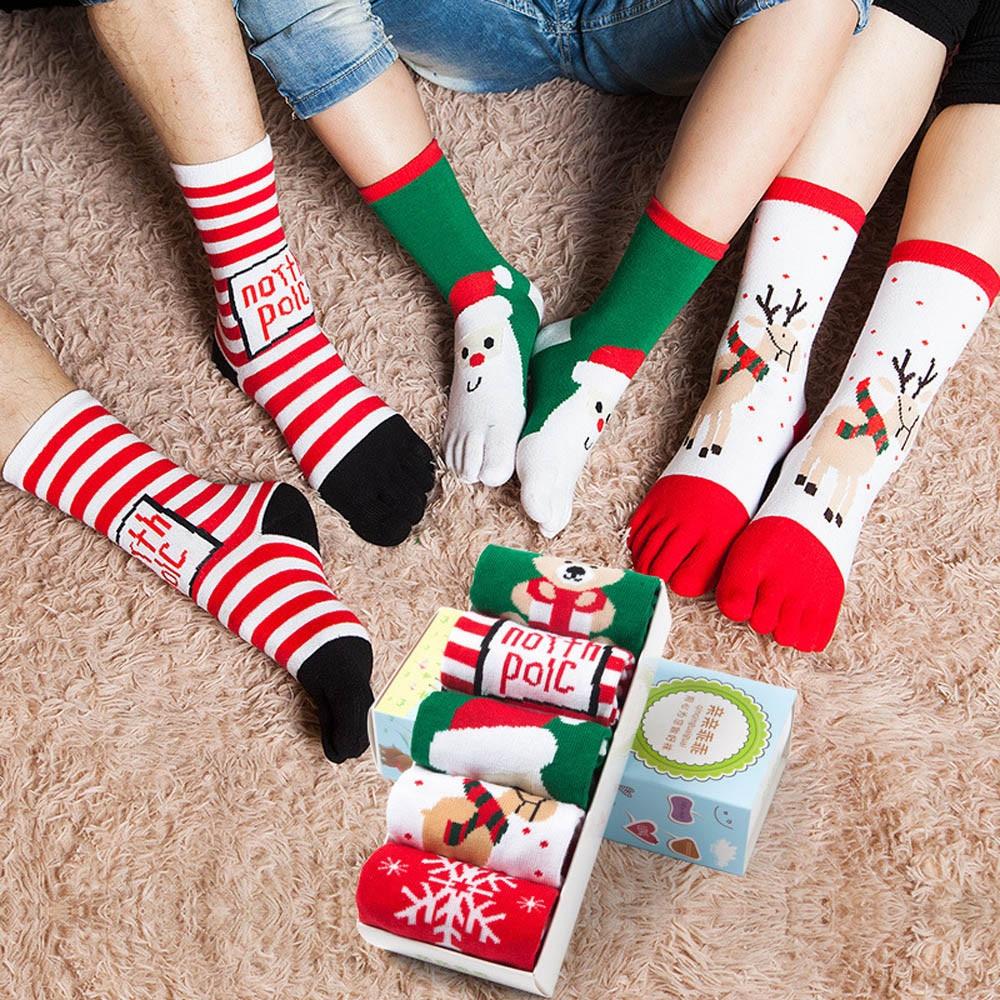 Christmas Cotton Socks Unisec Print Multicolor Toe Five Finger Sock Cotton Funny Socks T528