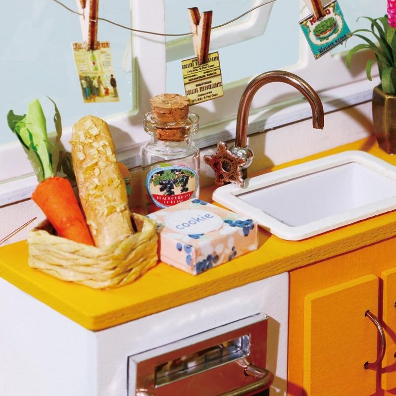 Robud DIY Miniature Jason's Kitchen Doll House Modell Byggsatser - Dockor och tillbehör - Foto 3