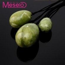 Meselo 3pcs/lot Kegel Ball Green Jade Anal Plug Women Sex Toy, Female Natural Stone Yoni Eggs Vaginal Muscle Tightening Exercise