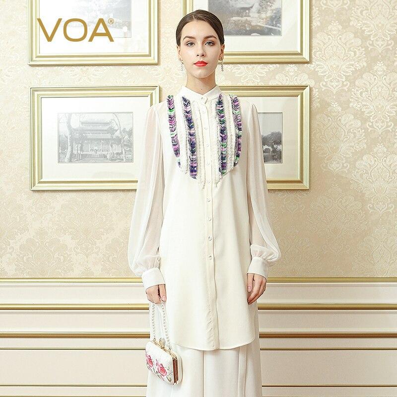 VOA Blouse en soie lourde grande taille 5XL haut pour femme chemise de bureau blanc solide à volants lanterne à manches longues décontracté printemps BSH02301