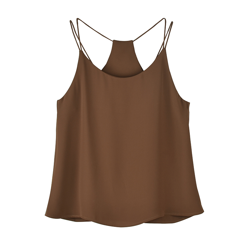 eba8256088 Flectit Black Brown Chiffon Thin Strap Dressy Cami Tops For Women Outfit  Casual Strappy Camis Vests debardeur femme Big Size