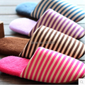 Free Shipping 2014 Fashion New Popular Autumn and Winter Warm Men&Women Cotton-padded Lovers at Home Slippers Stripe shoes