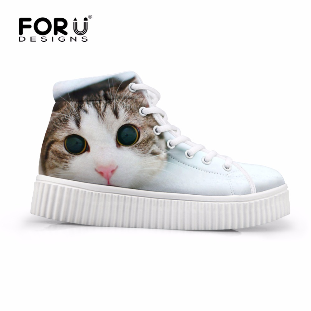 FORUDESIGNS Kawaii Women High Top Height Increasing Shoes 3D Animal Cat Pattern Female Flats Platform Shoes Casual for Ladies forudesigns fashion women height increasing flats shoes 3d pretty flower rose printed casual high top shoes for female platform