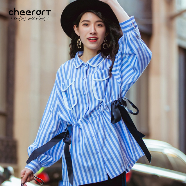 d38bb3150ed6 Cheerart Spring Women Blue White Striped Long Lantern Sleeve Blouse Shirt  Lace Up Casual Tunic Top