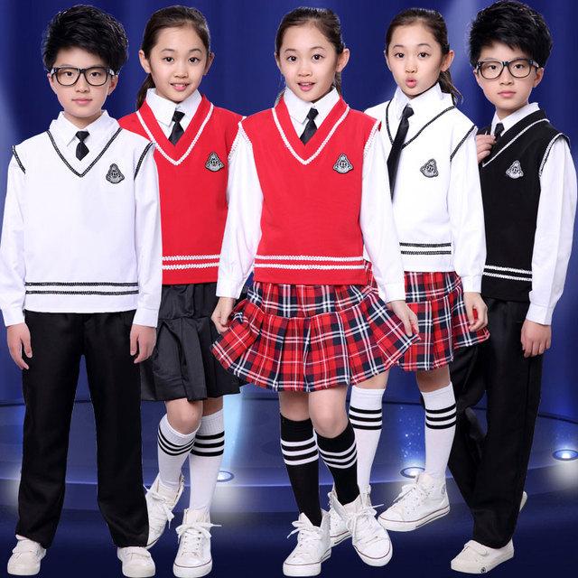 Nuevos Niños Concurso Chica Equipo de La Escuela Uniformes de Rendimiento Niños Traje Muchachas de los Sistemas de Clase Traje Chica Estudiante Trajes 2 Color