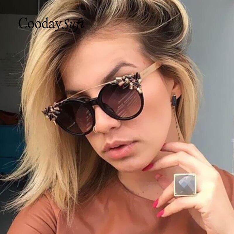 Coodaysuft High Quality Flower Party Vintage Sunglasses Women Sun Glasses Mirror UV400 Cat Eye