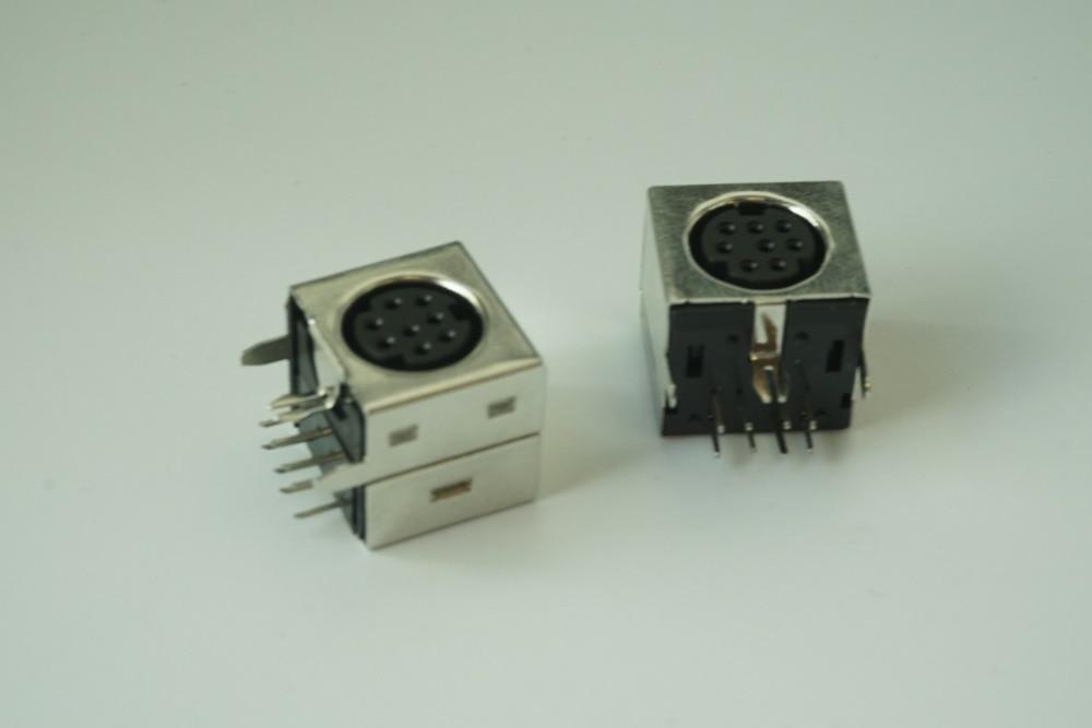 10 Pcs S-video 8 Pin Mini Din Socket Connector Shield Right Angle Through Hole Mini Circular DIN Receptacle Socket