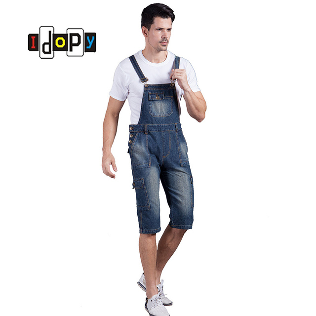 9844d789e7 Summer Men`s Denim Shorts Overalls Vintage Washed Multi-Pockets Jean  Jumpsuit For Men Big and Tall Plus Size