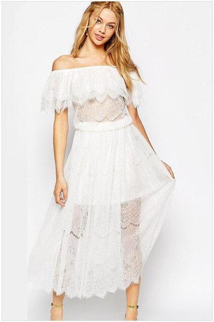 5049 2015 New Women Vestidos De Fiesta Bohemian Off Shoulder Maxi Dress Double Layered Lace Dress Ruffled Hemline Summer Dress En Vestidos De
