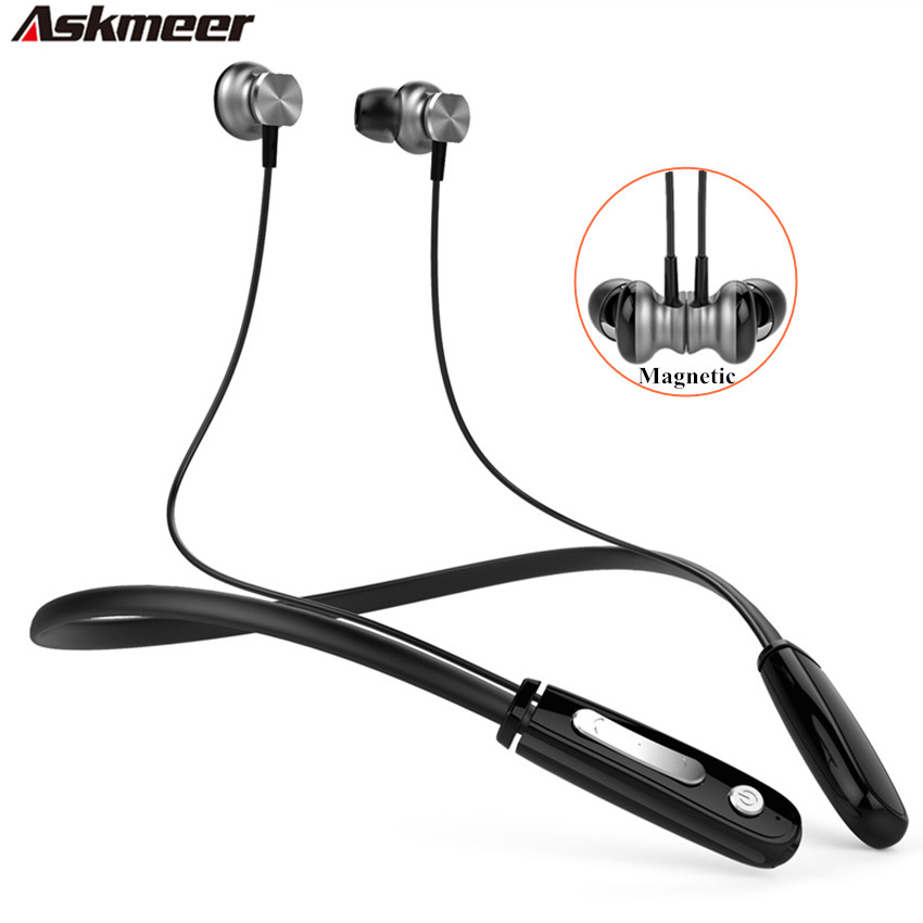 Askmeer Neckband Sport Bluetooth 4.1 Headset Handsfree Magnet Wireless Blue tooth Headphones Stereo Earphones with Mic for Phone v8 wireless stereo bluetooth headphones car driver handsfree call bluetooth earphones bluetooth headset portable storage box