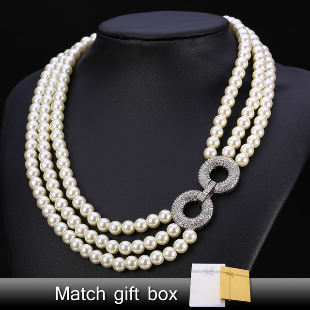 U7 Simulated Pearl Jewelry Necklace Women Fashion Jewelry Wholesale Trendy Multi Layers Wedding Necklaces N153