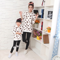 On Sale Family Look Clothing 2015 Spring Autumn Love Sets Coat Mother And Daughter Matching Outfits