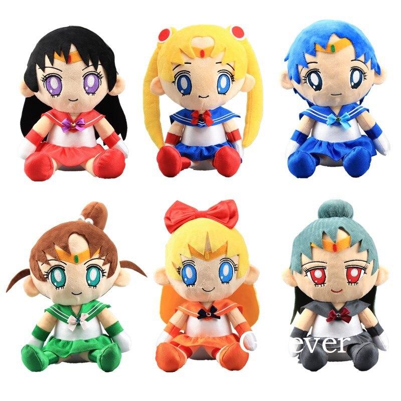 """6 sztuk/partia Sailor Moon pluszowe lalki Sailor Venus jowisz merkury pluton Mars nadziewane lalki 12 """"30 cm w Filmy i telewizja od Zabawki i hobby na  Grupa 1"""