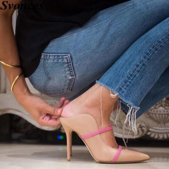 Pointu Sandales Haute Pic Chaussures Été As Date Talons Mince as Daim Bout Slingback Femme En Printemps 2019 Étroites Femmes Partie Bandes Pic Soie Pompes wtxz0