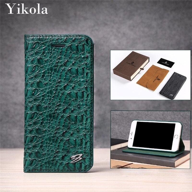 Vert Paillettes Peau de Crocodile Véritable Portefeuille En Cuir Cas pour iPhone 7 plus LuxoFunda pour Samsung Galaxy S8 Plus amous Marque cas