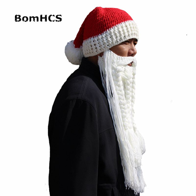 f256e357d75 Detail Feedback Questions about BomHCS Funny Santa Claus Hat and Big Beard  100% Handmade Winter Knitted Beanie Cap Cool Christmas Gift on  Aliexpress.com ...