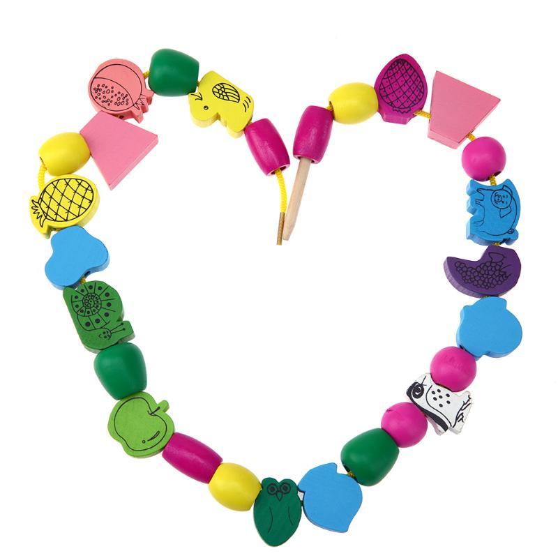 25pcs/lot Kids Wooden Toys DIY Bracelet Cartoon Animals Block Stringing Threading Beads Game Children Early Educational Toy Gift