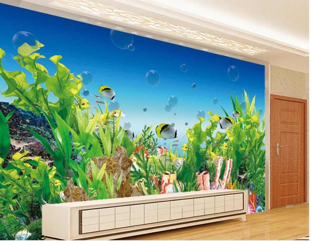 壁紙3d立体漫画アンダーウォーターワールド水族館シービューの背景壁紙家の装飾