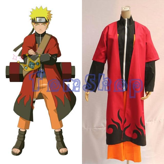 Anime Naruto Shippuden Cosplay Costume Uzumaki Sage Red Cloak Cape Robe Dust