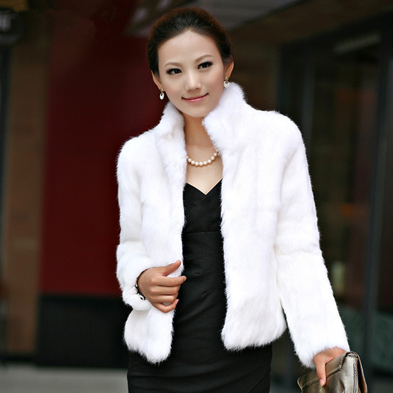 2017 Winter Womens Luxury Rabbit Fur Coat Thick Warm Faux Fur Jacket Long Sleeve Ladies Fluffy Coat White Black Female Outerwear