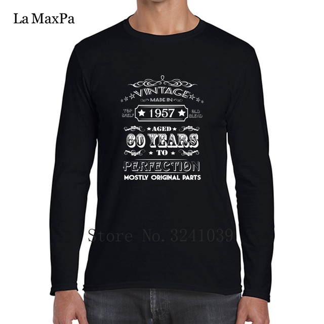 La Maxpa Vintage Age 60 Years 1957 Perfect 60th Birthday Tee Shirts Cool Graphic Nice T